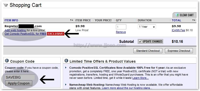 NameCheap - Registo de dominio 1