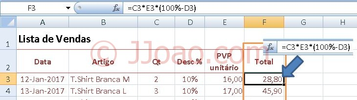 Criar formula de matriz -Calculo de Desconto