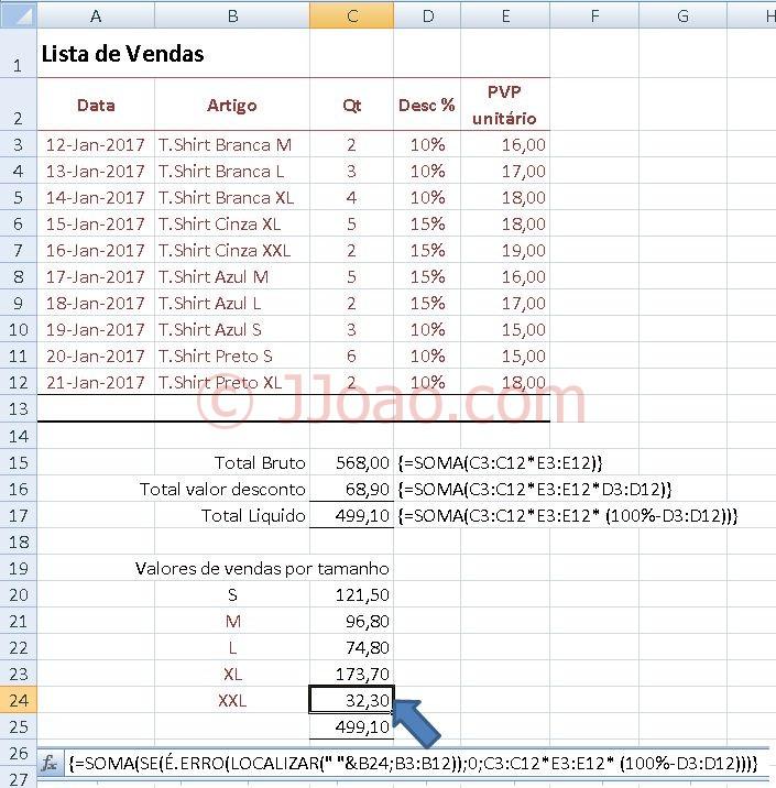 Criar formula de matriz -Calculo