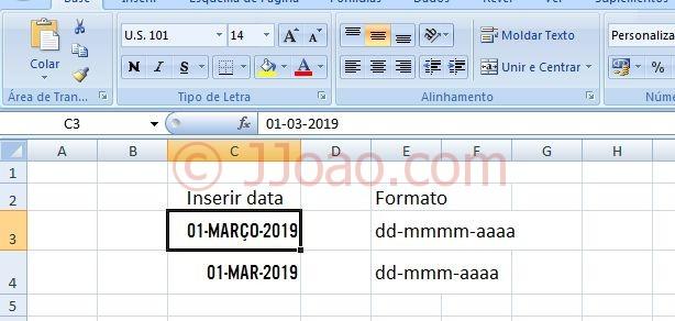 formato data em maiusculas no excel - Tipo de Letra