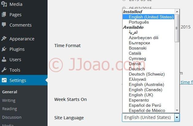 Mudar idioma do wordpress ingles para portugues