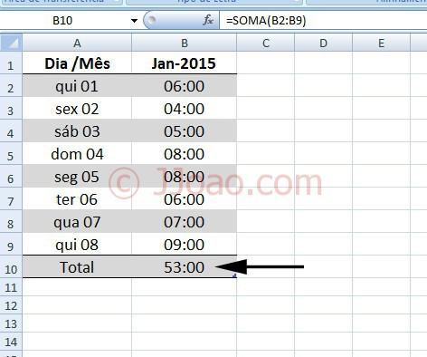 Somar Horas no Excel - 4